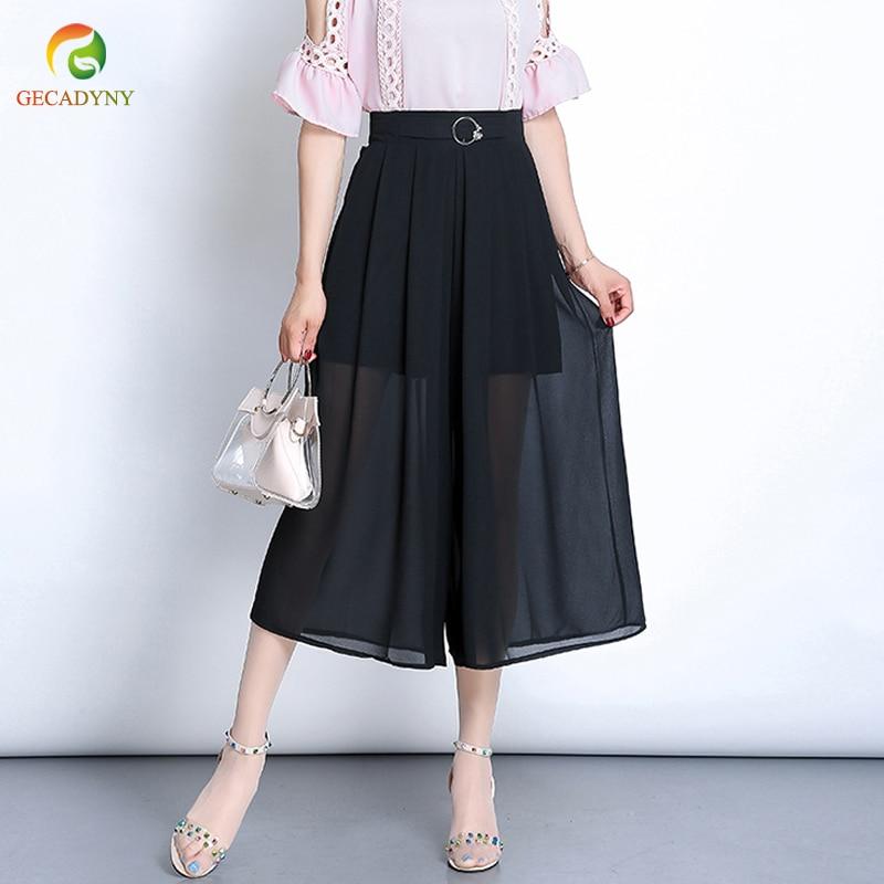 2019 Summer Chiffon Wide Leg   Pants     Capris   Women Causal Trousers Female Solid Elastic Waist Loose Pleated   Pants   Plus Size L-3XL