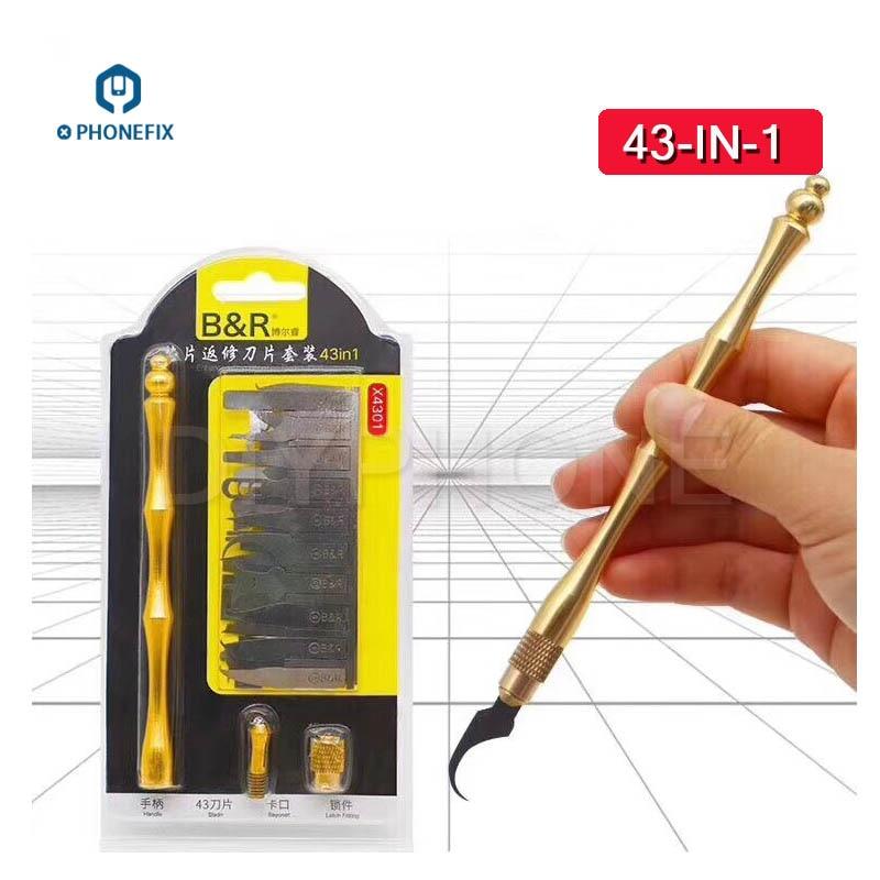 PHONEFIX 43 In 1 BGA IC Chips Remover Hand Tools Set NAND CPU Repair Remove For IPhone Motherboard Repair Tools Kit