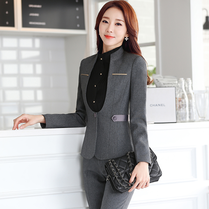 Metal Decoration V Neck Collar Two Piece Formal Pant Suit Office Uniform Designs Women Business ...