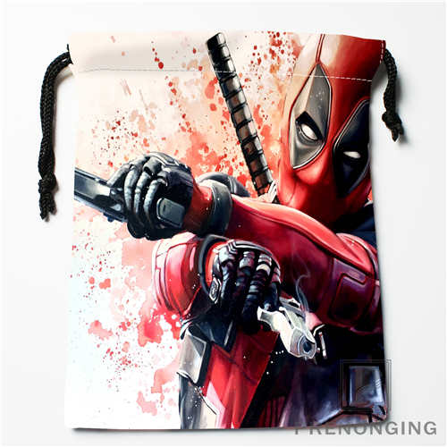 CustomCute Deadpool Carto Drawstring Bags Printing Fashion Travel Storage Mini Pouch Swim Hiking Toy Bag Size 18x22cm #171208-13