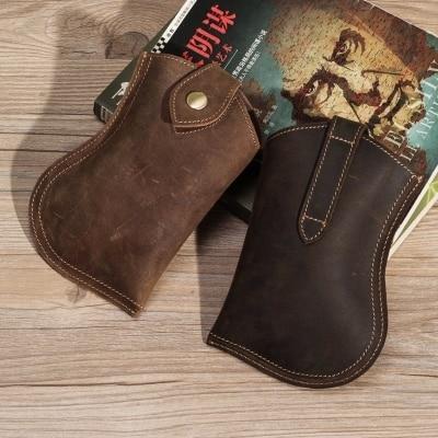 Top Quality Genuine Real Leather Cowhide Men Vintage Mini Waist Pack 5