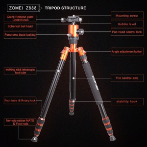 Image 5 - Zomei Z818 Portable Professional Aluminum Travel Camera Tripod with quick release plate monopod flexible tripod legs