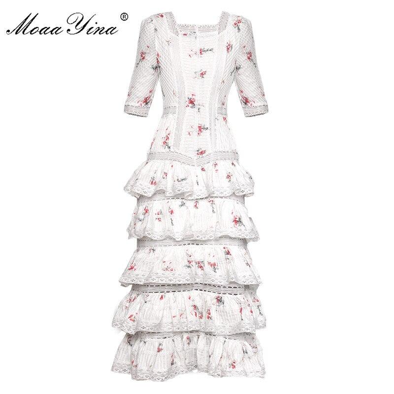 Kadın Giyim'ten Elbiseler'de MoaaYina Moda Tasarımcı Pist elbise İlkbahar Yaz Kadın Elbise Kısa kollu Çiçek Baskı Basamaklı Fırfır Tatil Elbiseler'da  Grup 1