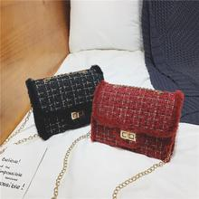 Women Chain Mini Shoulder Bag Circle Small Messenger Bags Womens Handbag Fashion Woolen Ins Popular 2019 New Densign