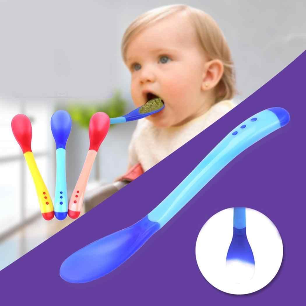 ทารกความปลอดภัยอุณหภูมิ Sensing Spoon Fork เด็กซิลิคอนช้อน Flatware สำหรับทารกอาหารการเรียนรู้เครื่องครัว