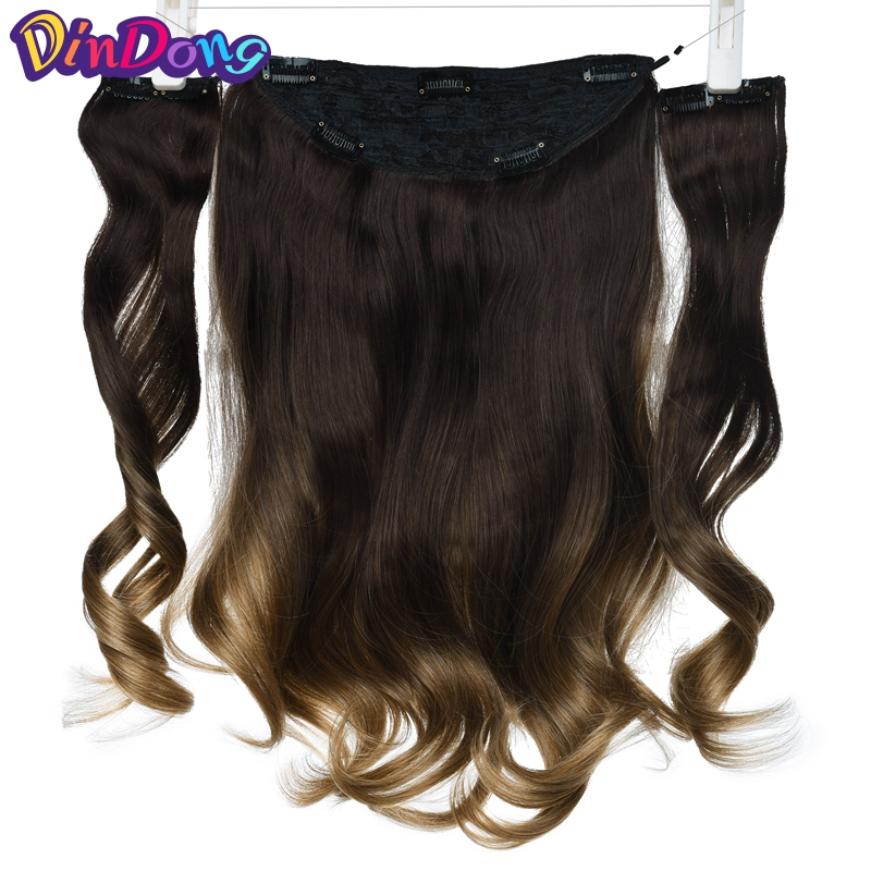 DinDong 18 inch Synthetic Fish Line Hair Invisible Wire Wavy Clip in Hair Extensions Natural Hair Pieces Real Hair Extensions