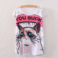 Funny Women T Shirt Print YOU SUCK Oil Painting T-shirt Casual Loose Bat Sleeve Tops Cat Tee Shirt Cute Clothing