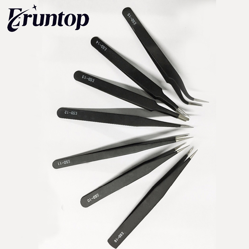 1PCS Precision Anti-static ESD Stainless Steel Tweezers For Electronics Jewelry-making Laboratory Work
