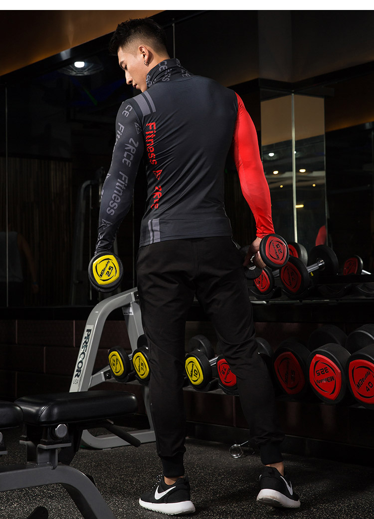 ZRCE High Collar Compression Gym Shirt Running Cycling Man Sport Shirt Fitness Tight Shirt Bodybuilding Sportswear Top