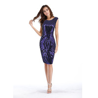 Women Sequined Sexy Dress After The V Collar Slim Office Knee Party Bodycon Dress Summer Elegant