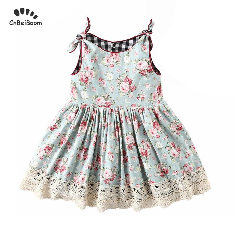 2019 New summer autumn 2 Side Baby Girls Dress Vintage Lace Kids flower Dress children 2 6 year girl fashion dresses Sandy beach