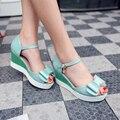 Mulher sapatos sandálias de verão lazer moda de alto cunhas salto de couro pu sandálias escorregas senhoras bowtie shoes tamanho 34 - 42