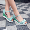woman shoes Summer sandals leisure fashion high wedges heel  pu Leather women sandals slides ladies bowtie shoes size 34-42