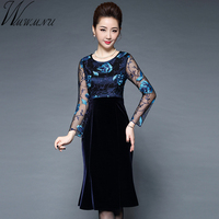 Wmwmnu Women Elegant Embroidery Lace Velvet Patchwork Winter Dress 2017 Vintage Slim Office Party Dresses Bodycon