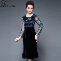 Wmwmnu Women Elegant Embroidery lace velvet Patchwork winter dress 2017 Vintage Slim Office Party dresses Bodycon Fishtail Dress