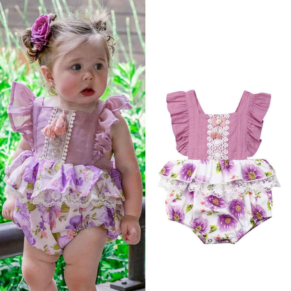 Niño recién nacido bebé niñas pantalones de encaje volantes mono Pom Playsuit Braga bebé niñas trajes de verano