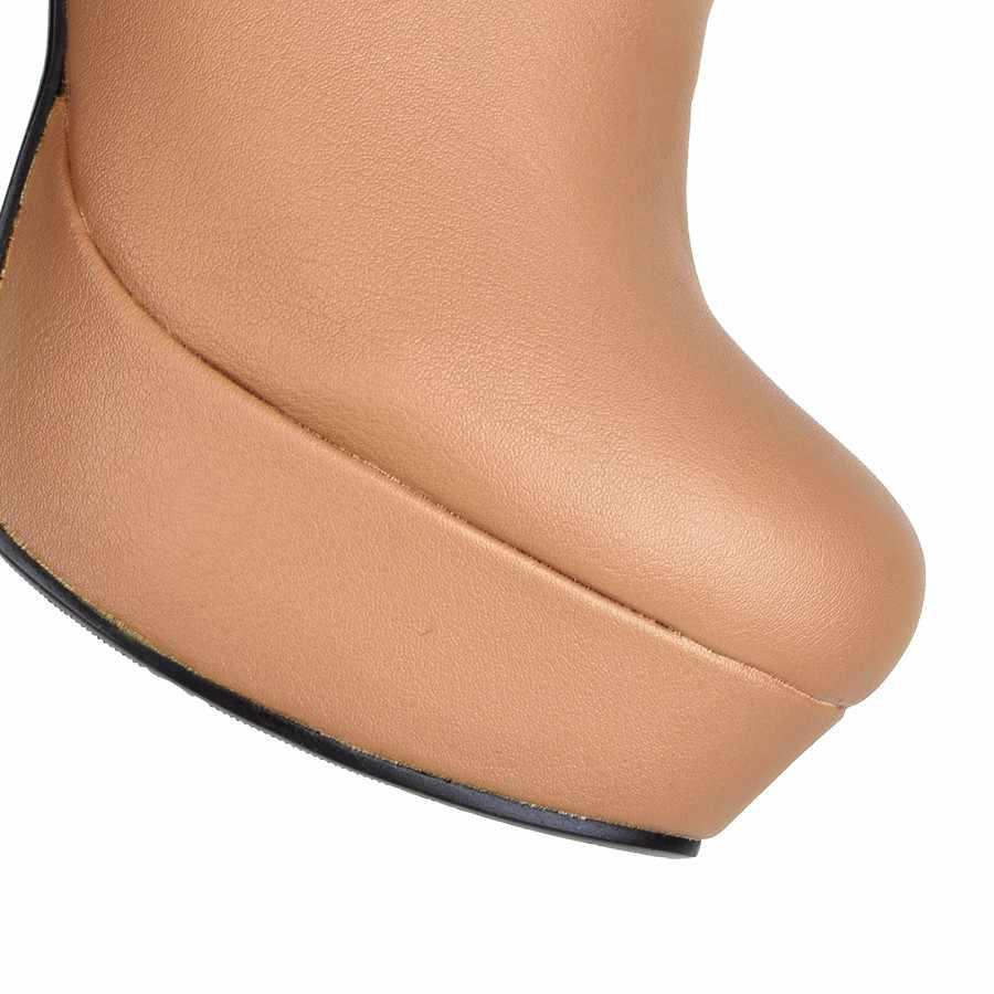 Damen Stiefeletten Plattform High Heels Stiefel Zipper Runde Kappe Winter Damen Stiefel Weiß Apricot Schwarz Stiefel Frau 2019 Neue schuhe