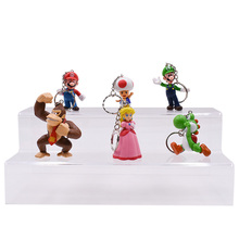 цены 6 pcs/lot Anime Super Mario Bros keychain Peach Donkey Kong Yoshi Luigi Toad PVC Action Figure Doll Collectible Model Toy