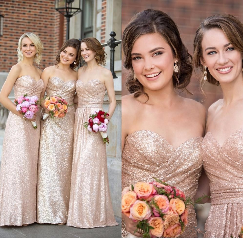 Gold sequin bridesmaid dresses rose gold cheap long wedding party gold sequin bridesmaid dresses rose gold cheap long wedding party gowns formal maid honor dress in bridesmaid dresses from weddings events on ombrellifo Gallery