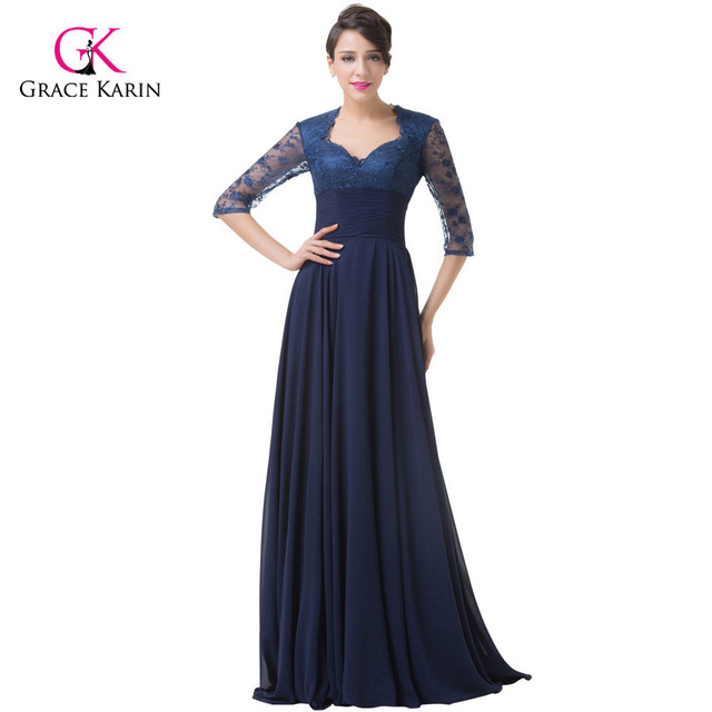 bcecd9ff99cb Elegant Formal Evening Dresses Grace Karin Chiffon Lace Half Sleeves Long  Navy Blue Mother Of The Bride Dresses Party Gowns 6234