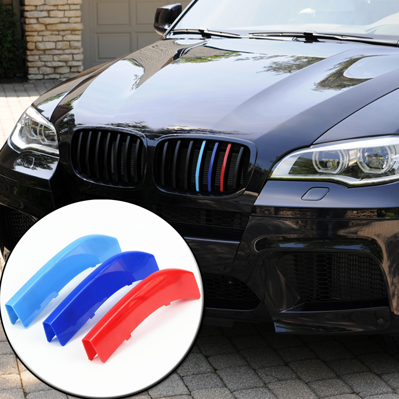 3D M Car Styling Front Grill Trim Strips Sticker For BMW 3 4 5 5GT Series X1 X3 X4 X5 X6 F10 F18 F30 F35 F48 F25 F26 F15 F16 F07 3 series carbon front bumper racing grill grills for bmw f30 f31 standard sport 12 16 320i 325i 330i 340i non m3 style car cover