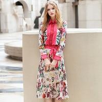 High Quality2016 Runway Suit Set Women Shirt Blouse Floral Print Pleated Skirt Suit