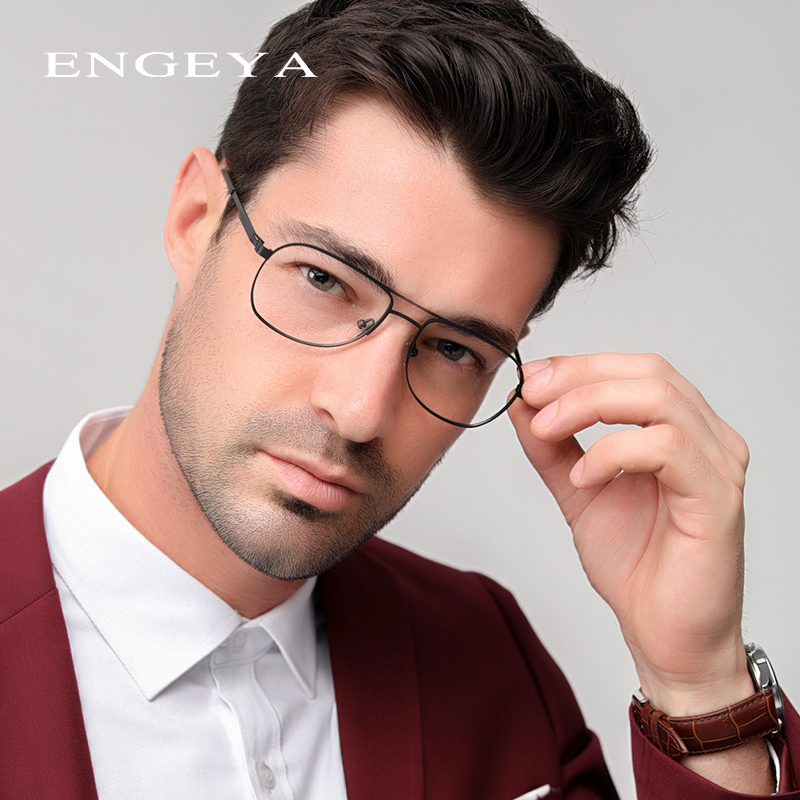 Metal Full Eyeglasses Frame Men Super Light Metal Retro Optical Glasses Frame Legs Unique Design #8046
