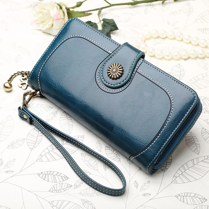 Brand Fashion Ladies Long Zipper Wallet Card Clutch Bag 2019 New Vintage Button Phone Purses Women Leather Wallets Female Purse in Wallets from Luggage Bags