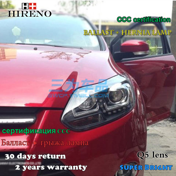 Hireno Car styling Headlamp for 2012-2014 Ford Focus Headlight Assembly LED DRL Angel Lens Double Beam HID Xenon 2pcs hireno headlamp for 2012 2014 chevrolet malibu headlight assembly led drl angel lens double beam hid xenon 2pcs