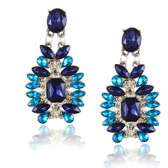 Design Crystal Water Drop Earrings Fashion Jewelry For Women Black Blue Rhinesto
