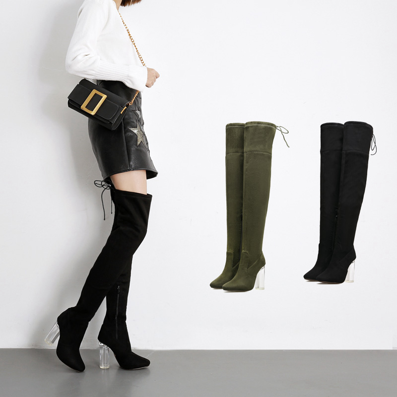 Women Over The Knee Boots Lace Up Sexy Hoof Heels Women Shoes Soild Winter Warm Size 35-40 Army Green women Shoes romanson rm 9207q lj gd