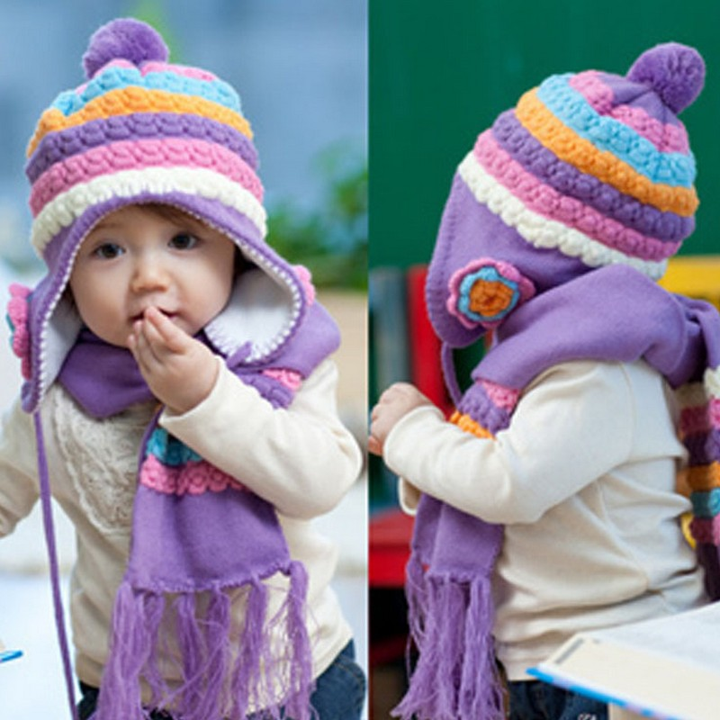 Hot sale beautiful baby child hat knitted baby winter hat pineapple flower child scarf hat baby girlhat ear protect hat MZ29