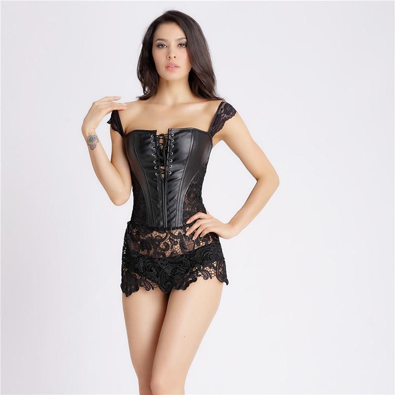 S-6XL Korzet Černá Steampunk Korzety Bustiers Gothic Bustier Sexy spodní prádlo Dámské umělé kůže Krajka Burlesque Shaper W5504