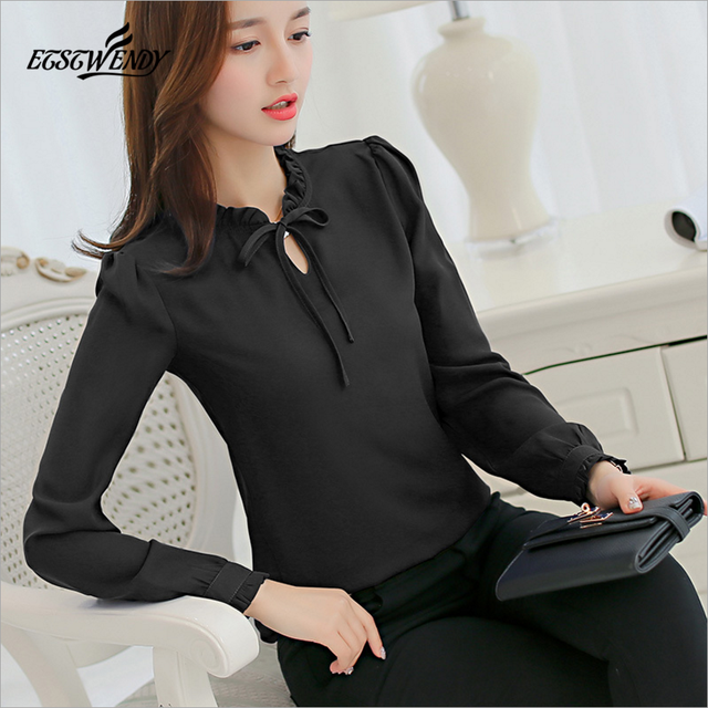 e63b2d62ba Otoño de 2019 mujeres blanco camisa manga larga camisa negra mujer coreana  ropa Streetwear delgada blusa