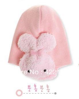 Winter Keep Warm Knitted Hats For Boy/girl/kits Hats,infants Caps Beanines Chilldren Thicken Double Rabbit Ear Muff HatZA10-1pcs