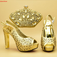 doershow Italian matching gold shoe and bag set african wedding shoe and bag sets!STA1 8