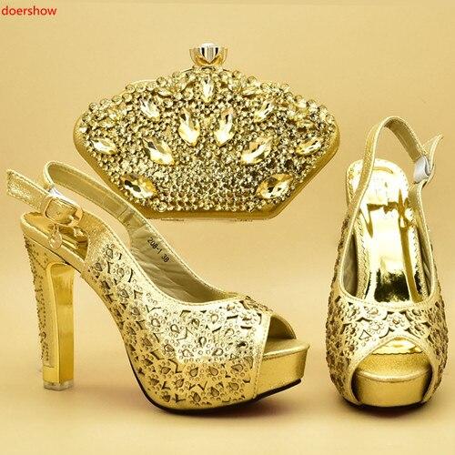 doershow  Italian matching gold shoe and bag set african wedding shoe and bag sets!STA1-8doershow  Italian matching gold shoe and bag set african wedding shoe and bag sets!STA1-8