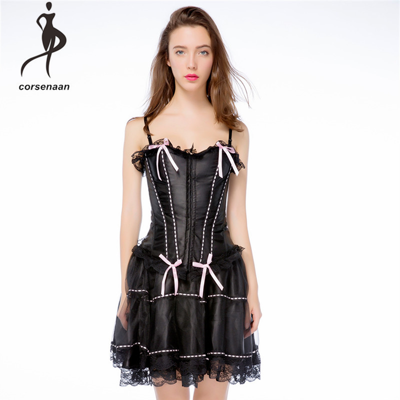 Adjustable Straps Pink Women's Sexy Skirt Set Gothic Faux Leather Vintage Bustier Corset Top With Skirt 067#