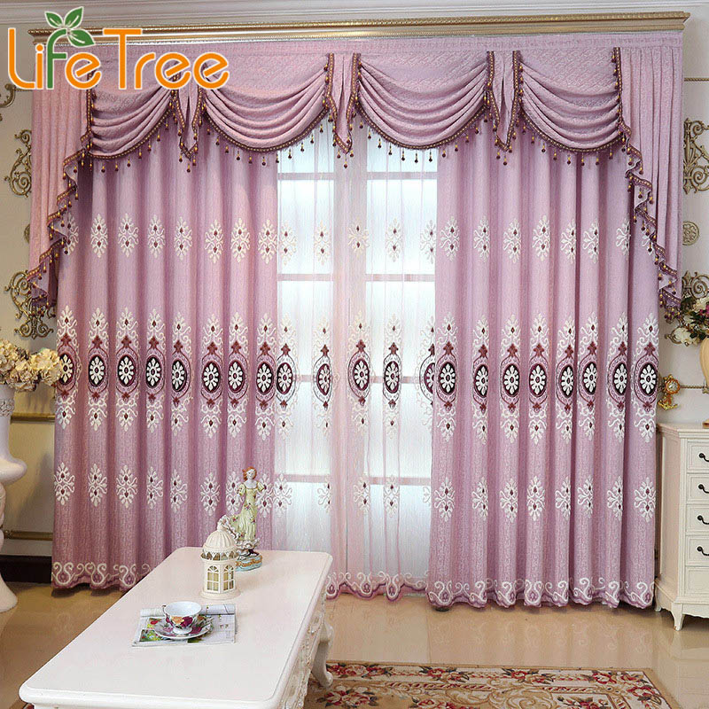 European Luxury Purple Thick Blackout Curtains For Living Room Embroidery Bedroom Drapes Curtain Window Curtain Custom Made