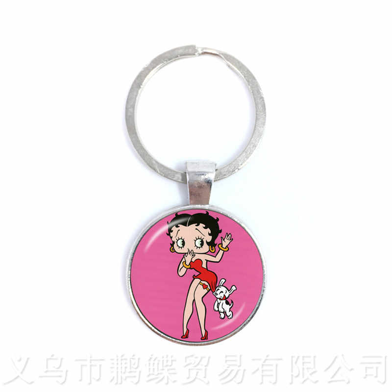 1pcs 25mm Round Glass Cabochon Handmade Betty Boop Key Chains For Fridends Keyring For Best Gifts