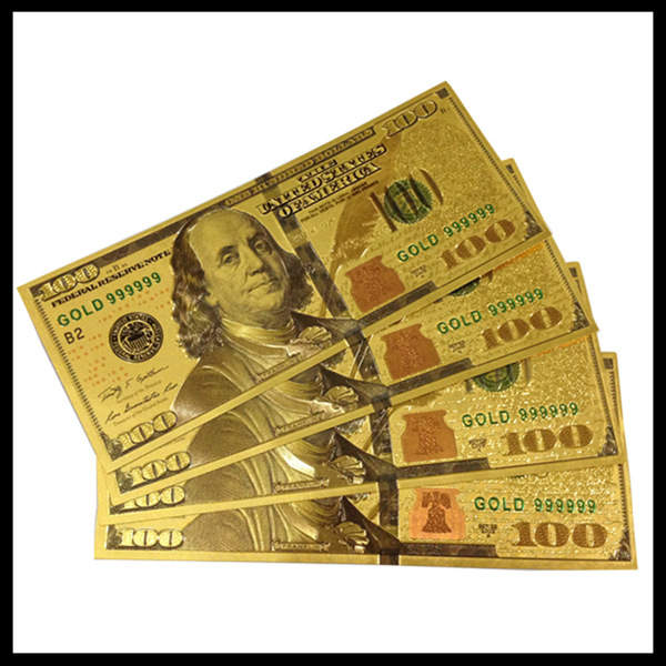 100pcs Sets World Paper Money Collection 100 Dollars Banknotes USA Dollars  Gold Foil Bill Currency Fake Money For Christmas Gift