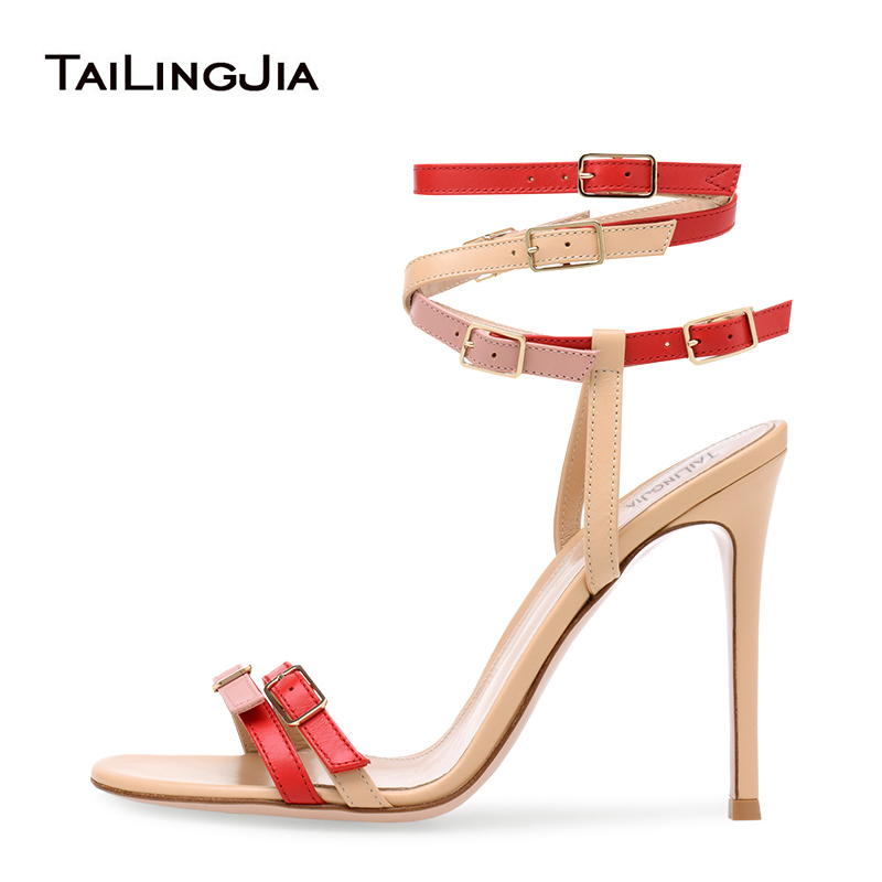 Moda Multi Fivela Sandália Enjaulado Sandálias de Salto Stiletto Mulheres Brancas de Tiras de Salto Alto Sapatos de Saltos Altos Das Senhoras Vestido de Festa de Verão