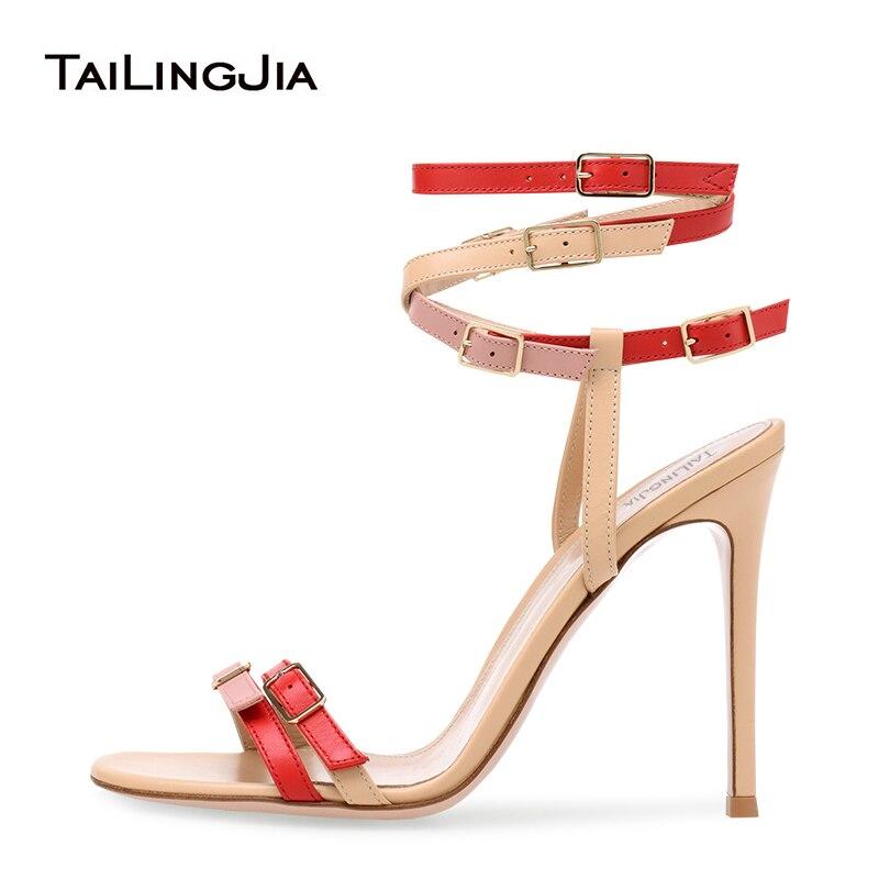 Moda Multi hebilla enjaulada sandalia mujeres Stiletto tacón sandalias blanco de tiras con tacones altos señoras verano vestido de fiesta zapatos