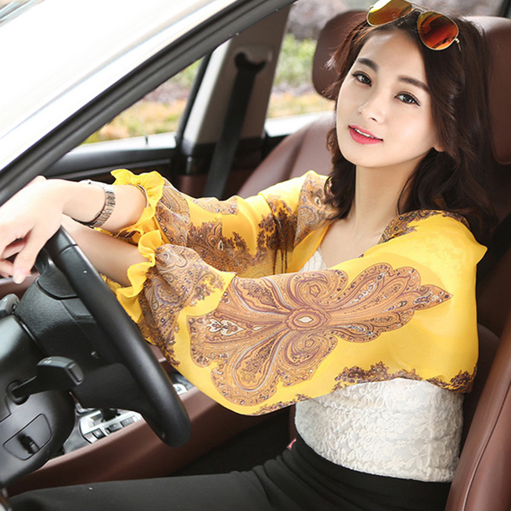 Women's Floral Printed Outdoor Riding Beach Sunscreen Anti-UV Sleeves Arms Summer Cooler Warmers Cuff Scarf Ladies Silk Shawl