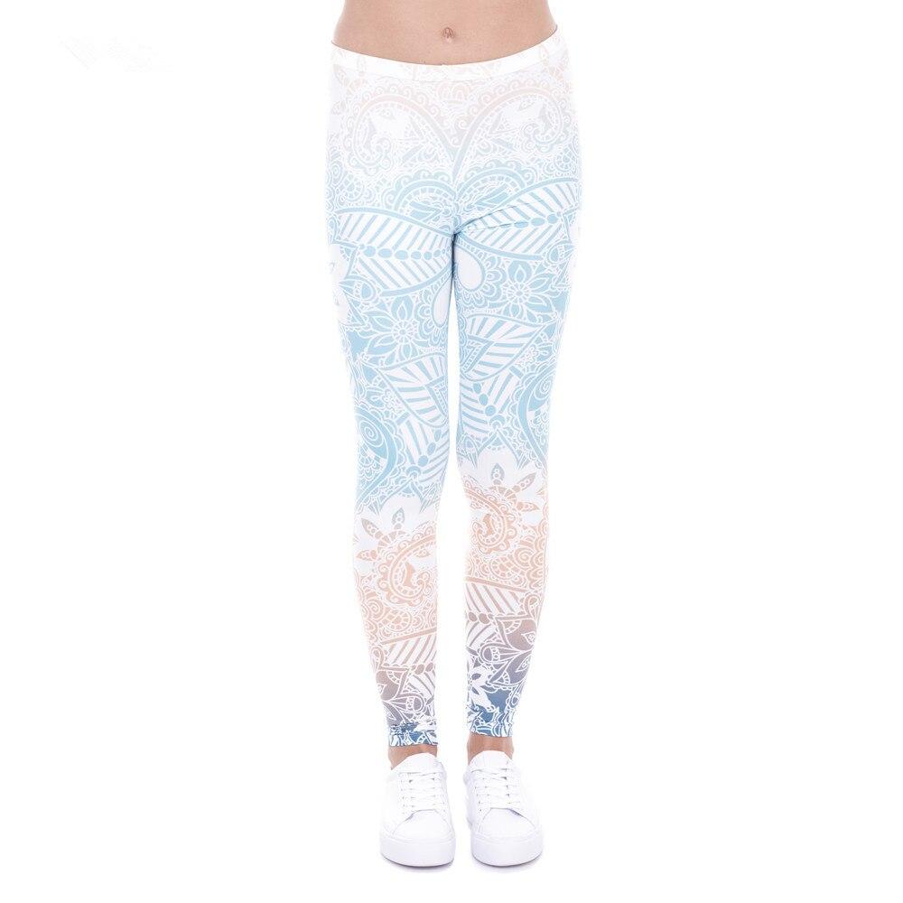 2018 Yuga High Quality Women Casual Legins Mandala Ombre Blue Printing Legging Fashion Skinny Casual High Waist Women Leggings