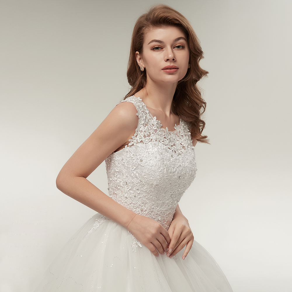 Fansmile Korean Lace Up Ball Gown Quality Wedding Dresses 2019