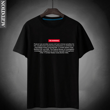 Novelty Funny Clothing Men's Gift T-Shirt FBI Warning Slim Fit Male Tee Summer Black Letter Print O-Neck 100% Cotton Brand Tops