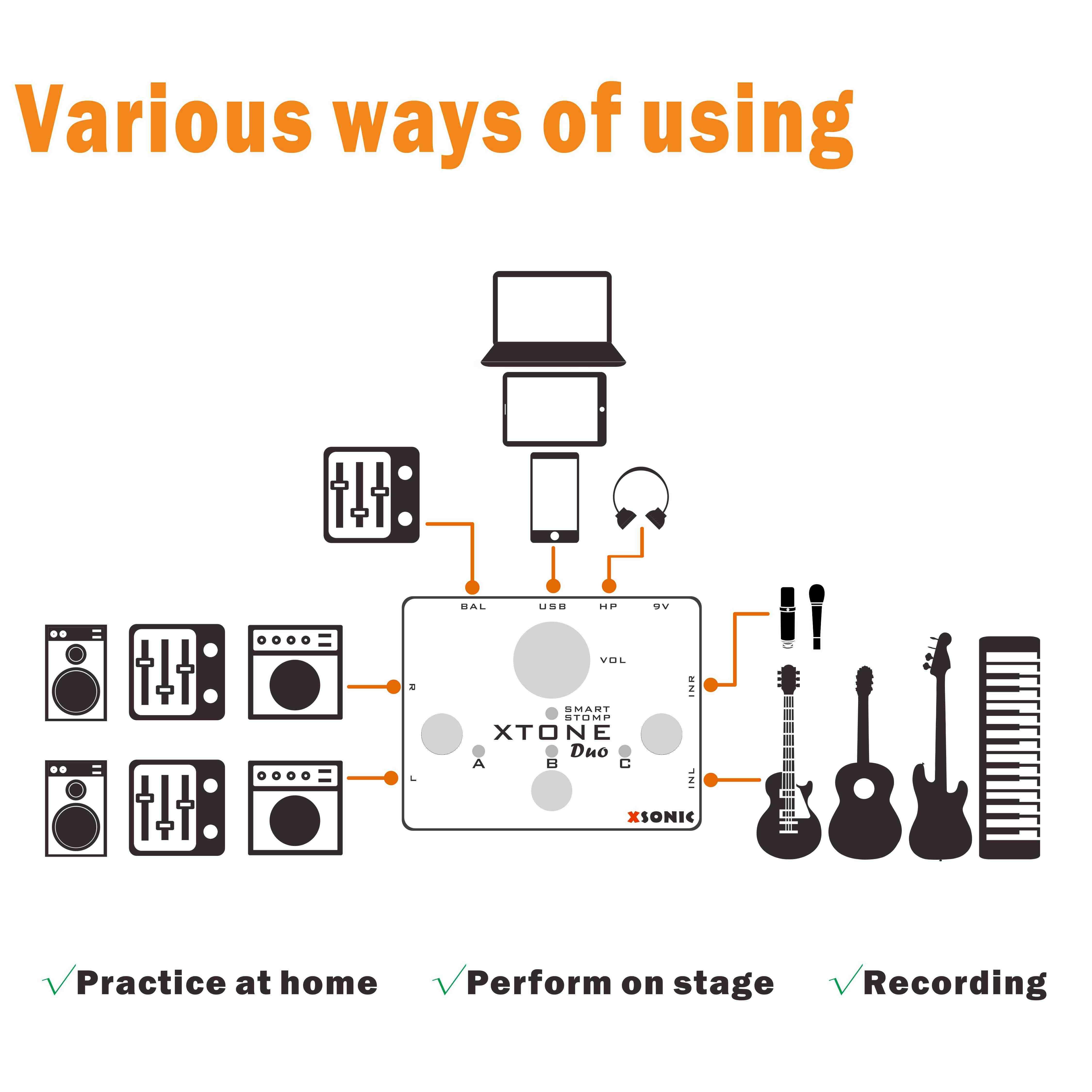 XTONE Duo – guitare Mobile 192K et Interface micro pour iphone/PC, avec commande MIDI et préampli, alimentation fantôme 48V et latence Ultra faible