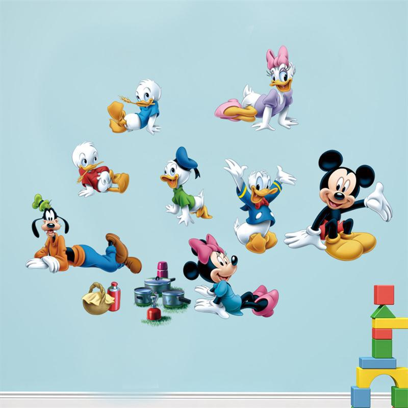 Newest Cartoon Mickey Mouse Donald Duck Baby Love Kids Room Decoration DIY Wall  Stickers Removable Kids Nursery Decal Sticker In Wall Stickers From Home ... Part 29