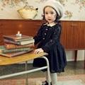 2016 весной полный Lce принцесса малыша платья девушки с длинным рукавом с отложным воротником черный белый колен дети платье 2-8Y